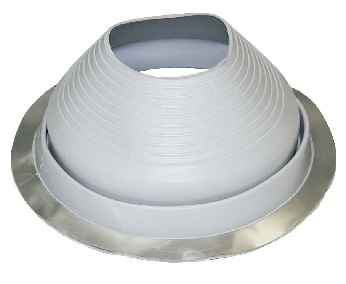 #9 Round Base Gray EPDM Pipe Flashing - #9 Round Base Gray Color EPDM Pipe Flashing. 25.25 Inch Diameter Base. 7.54 Inch Open Top. Fits 9 Inch To 19 Inch Pipes. Price/each Boot.