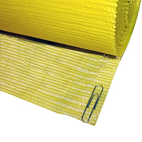 6 in. X 150 Ft Roll Yellow Fiberglass Fabric (1) - 6 inch x 150 Foot Roll, Yellow Resin Coated Fiberglass Reinforcement Fabric with 20x10 Mesh, 1.6 Oz/Yard. Meets ASTM D 1668 Type III. Price/Roll.