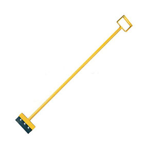 7 inch Wide Steel Spudder / Scraper Bar, D-Handle w/ Blade - 7 inch Wide x Steel Spudder / Scraper Bar with D-Handle and Flat Blade. 56 inch long heavy duty all steel construction, 7 inch wide hardened steel changeable blade. Yellow Powder Coat Finish. Price/Each.