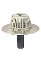 6 inch Aluminum New Construction Drain, Flip Top Dome, for Flat Deck