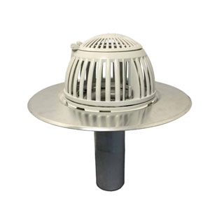 4 inch Aluminum New Construction Drain, Flip Top Dome - 4 inch Aluminum Roof Drain, Acudor Platimum # ARDR04N, 18 inch OD Base Flange, 10.4 inch OD Flip-Top Cast Aluminum Dome, for New Construction using a Recessed Deck Mount.  Price/Drain. (shipping leadtime 1-3 business days)