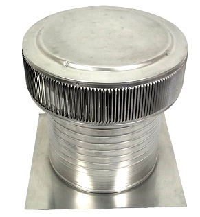 14 inch Aura Ventilator Kit, 12 inch Collar, for Tile/Shingle/Shake Roof - 14 inch inside diameter Aura Ventilator with 18 x 18 inch square base flange and 12 inch collar height. For tile, shake or shingle roofs. All aluminum, mill finish. Made in USA. Price/Each. (shipping lead time 2-4 business days)