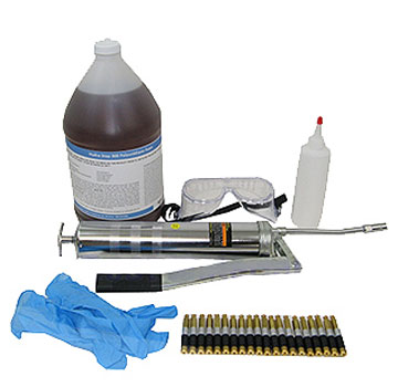 Acta-Leak Concrete Crack High-Pressure Urethane Injection Kit - Acta-Leak Concrete Crack Repair Kit, High-Pressure Polyurethane Foam Injection. Repairs up to 20 ft of actively Leaking and Hairline Crack Repairs. Includes Hydra Stop 300 Injection Foam, High-Pressure Gun, Brass Packers, etc. Price/Kit. (UPS Ground only)