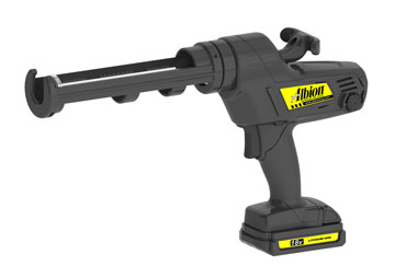 Albion #846-1E 1/10 Gallon 18V Battery Powered Caulking Gun Kit - Albion model 846-1E 1/10 Gallon (10oz) Cartridge 18V Lithium-Ion Battery Powered Caulk Gun Kit, with Battery and Quick-Charger. Price/Kit.