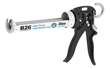 Albion B26 10 oz. Cold Weather High Viscosity Caulk Gun - 26:1 Drive - Albion B26 10 oz. High Viscosity Caulking Gun - Delivers 900 ibs of force with a 26:1 Thrust Ratio. Adjustable wear-compensation device for no loss trigger motion and double gripping plate makes this model both durable and comfortable. Price/Each.