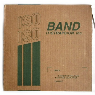 1/2 inch x 100 ft. Roll Stainless Steel Banding - ISO Band #BA204, 1/2 inch x 100 ft. x 0.030 Roll, Stainless Steel Banding / Strapping. 1425 lbs Tensile Strength. Made in USA. 100 feet/Roll. Price/Roll.