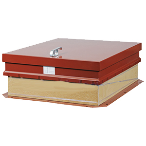 36 x 30 Hurricane Rated Roof Hatch, Ladder Access RED Finish Steel - 36 x 30 inch Hurricane Rated Ladder Access Roof Hatch, Galvanized Steel, RED Finish, from Babcock-Davis. Miami-Dade Approved. All steel curb & cover. Hinge is on 30 inch side. Price/Each.