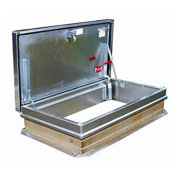 30 x 96 Personnel/Stair Ship Series Aluminum Roof Hatch, Mill Finish - 30 x 96 inch Personnel/Stair Ship Series Aluminum Roof Hatch, Mill Finish. Single wall, aluminum curb & cover. Hinge is on 96 inch side. Price/Each. (30x54 item shown in photo)