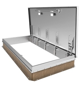 48 x 96 ft. Single Door Stair Access Roof Hatch, Alum., w/Rail - 48 x 96 inch Single-Door Personnel Stair-Access Roof Hatch, Aluminum Curb, Single Aluminum Door, Mill Finish, with Safety Rail System. Price/Each. (special order; shipping lead time 3-5 weeks; no safety rails shown in photo)