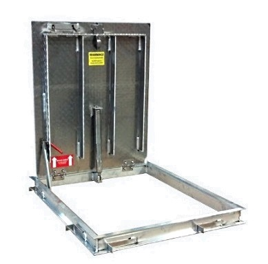 24 x 30 Floor Door, Aluminum, 1- Door, Non-Drainable, New Const. - Babcock-Davis BFDNPA24X30SAL Floor Door, 24x30 Lid (19 x 27 clear opening), Single Door, Mill Finish Aluminum, 316 SS Hardware, Non-Drainable C-Channel Frame, Cast-in Anchors, Slam Latch, Removable L-Handle. Price/Each. (see ordering notes in detail view)
