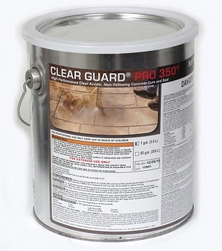 Butterfield Clear Guard Pro350 Cure/Seal, 1-Gallon - Butterfield CGG1 Pro 350 Cure and Seal, glossy finish, UV Stable. For stamped concrete surfaces. 1-Gallon Can. Price/Can. (hazmat, UPS Ground or truck shipping only)