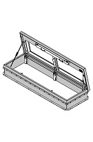 36 x 72 SunLit Double Clear Dome Roof Hatch, Alum., Mill Finish