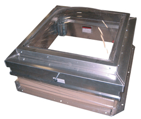 30 x 36 SunLit Domed Roof Hatch, Aluminum, Mill Finish - 30 x 36 in. Aluminum SunLit Domed Roof Hatch. Clear Polycarbonate Domed, all Aluminum, Mill Finish Roof Hatch. Single wall aluminum curb. Hinge is on 30 inch side. Price/Each. (special order; 2-3 week leadtime)