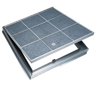 30 X 30 inch Bilco TER Pan Floor Door, 1-Leaf, All Aluminum - 30 x 30 inch Bilco TER Architectural Floor Pan Access Door, all Aluminum, Single Leaf, 1 inch fillable pan for installation of architectural flooring material. 150 PSF Pedestrian Grade. Made in USA. Price/Each. (see ordering notes in detail view)