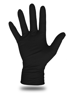 Boss Disposable 6 Mil Black Nitrile Gloves, LARGE Size (Box/100) - Boss 1UH6000B Disposable 6 Mil Black Nitrile Gloves, Textured Grip, Powder Free. 11 inch Length, Rolled Cuff. LARGE Size. 100/Box (50 pairs). Price/Box.