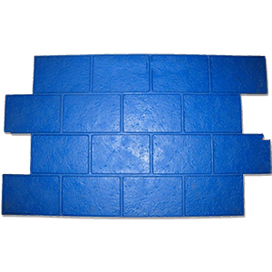 Jumbo Brick Running Bond Concrete Stamp, Flexible. 38.25x25.82 - Jumbo Brick Running Bond Concrete Stamp. Blue. Flexible. 38-1/4 x 25.81 inch. Price/Each. (special order, shipping lead time 2 weeks; aka BST6202BL-FL)