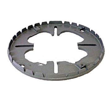 12 in. Cast ALUMINUM Universal Replacement Base Ring - 12 in. Cast ALUMINUM Universal Replacement Drain Base Ring (13-3/8 OD). Aligns to most old drain base patterns from 6-1/2 to 11-3/4 in. Price/Each.