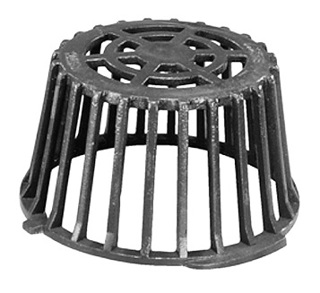 12 in. Cast Iron Drain Dome / Strainer, Self Locking - 12 inch Cast Iron Drain Dome / Strainer. 12-1/4 inch OD x 7 inches high, self locking. Gray Epoxy Finish. Replaces most popular 12 inch OD drain domes (14-15 inch drain bowl) for Roof Drains. Price/Each. (AKA Marathon BS-1069)