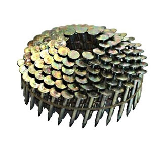 1-1/2 x .120 in. EG Coil Roofing Nails (7200) - 1-1/2 in. x .120 in. E.G. COIL ROOFING NAILS, SMOOTH SHANK, 3/8 in. HEAD, WIRE COLLATED COILS, 120 NAILS/COIL, 60 COILS/BOX. 7200 NAILS/BOX. PRICE/BOX.