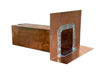 Scupper, 6 inch Wide x 6 High x 15 Long, 16 Oz copper - Scupper Drain, 6 inches Wide X 6 inches High x 15 inch Long Drain Opening Area. Face has 4 inch Perimeter Face and Front Lip. Made with 16 oz. Copper. Seams are Soldered. Price/Each. (aka # C-SCP-6X6X15, leadtime 3-4 business days)