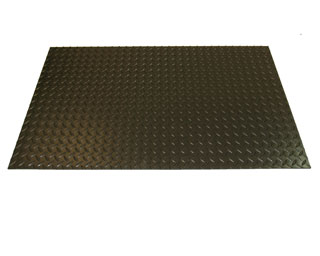 Conductive Diamond Plate Runner, 3x75 ft Mat, 5/32 inch Thick, Black - Rhinomat #ECD36. Conductive Diamond Plate Runner Mat. 3x75 feet Runner Mat, 5/32 inch Thick, 1,000 PSI Tensile Strength, 100% min Elongation, 1m-ohm resistivity. Made in USA. Price/Each. (shipping lead time 5-7 business days)