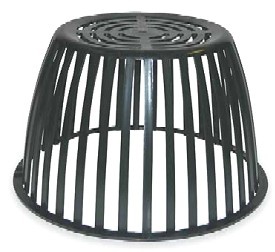 12 1/4 in. Replacement Poly Drain Dome Strainer / Grate - 12-1/4 in. DIA. BASE X 7-1/4 in. HIGH, REPLACEMENT BLACK DRAIN DOME / STRAINER/ GRATE. UV RESISTANT POLYETHYLENE. BASE FLANGE IS .430 in. WIDE x .185 in. THICK. REPLACES POPULAR B2-DM PLASTIC DRAIN STRAINERS / DOMES. PRICE/EACH.