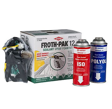 Dow Froth-Pak 12 Foam Sealant Kit, 1.9 PCF - Dow Froth-Pak 12 Kit (Dow 308900), 1.9 PCF 2-Part Spray-Foam Sealant. 12 Board Feet / 1.0 CuFt. Kit: A/B cans of adhesive, 3 white cone-spray nozzles, Spray Dispenser/Hose, Instructions. Price/Kit. (Ground Ship Only)