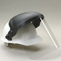 Face Shield Attachment w/ Shield For Safety Helmet - #E11S, POLYCARBONATE FACE SHIELD AND ATTACHMENT BRACKET, FITS ERB SLOT ATTACH TYPE SAFETY HELMETS (a kit of items 15182 E17 bracket and 15151 face shield). PRICE/EACH. (helmet not included)