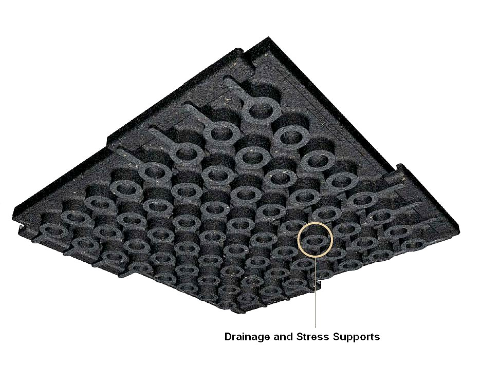 Interlocking Rubber Deck Paver Terra Cotta 24 X 24 X 2 Inch