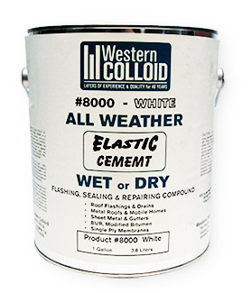 WC #8000, WHITE All Weather Elastic Flashing Cement (1G) - WC #8000 WHITE All Weather Wet/Dry Elastic Flashing Cement. Solvent-based Wet/Dry White Flashing Cement, UV Stable. For Flashing, Sealing and Repairs on most roofing surfaces incl. EPDM, TPO, PVC Hypalon, Asphalt BUR, Mod Bit. 1-Gallon Can. Price/Can.