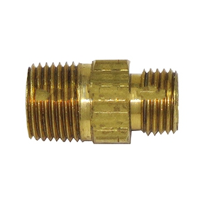Propane Adaptor Fitting 3/8 MNP to Left-Hand 9/16 in. MNPT - PROPANE ADAPTOR FITTING, 3/8 MNPT TO 9/16 in. - 18 MNPT LEFT HAND. ALL BRASS. PRICE/EACH. (aka # ME24E; special order, leadtime 2-4 business days)