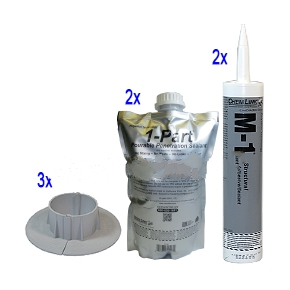 E-Curb 6 Inch ID Round, Kit (3 Sets with Filler) - Chem Link E-curbs 6-inch Id Round Pipe Flashings, Complete Kit. Kit Has 3 Pair (6, 1/2 Rounds) 6 Inch Id Injection Molded 2-piece Interlocking Curbs, 2 Pouches Of 1-part Pourable Sealer And (2) 10-oz Tubes Of Gray Color M-1 Sealant. Price/kit.