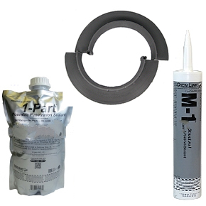 E-Curb 9 Inch ID Round Curbs, Complete Kit (2 pair, sealant) - Chemlink E-curbs 9-inch ID Round Pipe Flashing Curbs, Complete Kit. Kit Has 2 Pair 9-inch ID Gray Color Injection Molded 2-piece Interlocking Pipe Flashings, 2 Pouches Of 1-part Pourable Sealer And (2) 10-oz Tubes of Gray Color M-1 Sealant. Price/Kit.