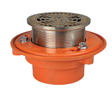 SUN FD1004NH-6A Floor Drain w/6 inch Adjustable NB Top, 4-Inch No-Hub Outlet - SUN FD1004NH-6A Cast Iron Floor Drain. 4-inch No-Hub Bottom Outlet Body with Anchor Flange, Weep Holes and Clamping Collar. Top is Round 6-inch Adjustable Heel Proof Nickel-Bronze. Price/Each. (shipping leadtime 1-3 business days)