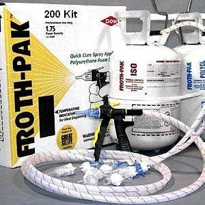 Dow Froth-Pak 200 Foam Sealant Kit, 1.75 PCF - Dow Froth-Pak 200 Kit. 1.75 PCF 2-Part Spray-Foam Sealant, R-6. 200 Board Feet / 16.6 CuFt. Kit: A/B tanks of adhesive, 9