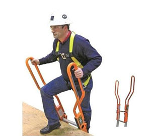 Ladder Extension / Safety-Rail System - Guardian #10800 Safe-T Ladder Rail, Extension System, Orange Color finish. Provides an extended safety railing to enable safe walk-through at top of an extension ladder. 2-piece universal bolt-on railing kit. Price/Kit.