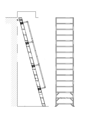 Alaco H1000, Ships Stair Wall-Mount Ladder w/Handrail (8-20 ft) - Alaco # H1000-65 65-Degree Ships Stair type Roof Hatch Access Ladder. 1000# capacity, 6-inch wide ridged steps, wall mount brackets, 1-1/4 inch OD aluminum handrails. Price/Each. (Special order; see ordering notes in detail view)