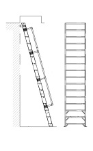 Alaco H1000, Ships Stair Wall-Mount Ladder w/Handrail (8-20 ft)
