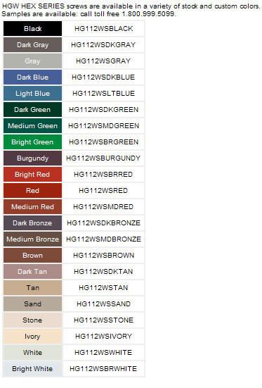 Simpson Quick Drive HG Screw Colors