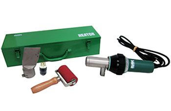 BAK ERON 230v Hand Hot Air Gun Basic Kit - BAK EROO Hand Held Heat Gun Basic Kit includes a BAK ERON 230v/3400w Heat Gun, 80mm Nozzle, 80mm wide Silicone Roller, L630P Plug and Sturdy Tool Box. Price/Kit. (ground shipment only; signature & Photo ID required)