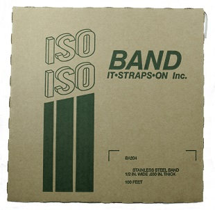 1/2 inch x 100 ft. Roll Stainless Steel Banding - ISO Band #BA204 1/2 inch x 100 foot x 0.030, Roll of 201 Stainless Steel Banding / Strapping. 1500 lbs Break Strength. ASTM-A666 Certified. Made in USA. Price/Roll.