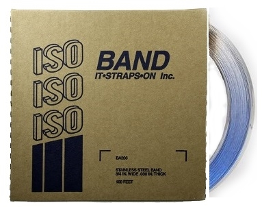 3/4 inch x 100 ft. Roll Stainess Steel Banding - ISO Band #BA206 3/4 inch x 100 foot x 0.030 Roll, Stainless Steel Banding / Strapping. 2138 lbs Tensile Strength. Price/Roll.
