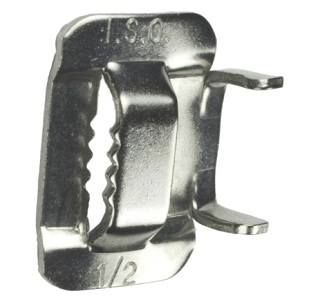 1/2 inch Stainless Steel Banding Buckles (100) - ISO #BU254, 1/2 inch 201 Stainless Steel Banding Buckles. Made in USA. 100/Box. Price/Box. (aka # C25499)