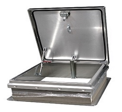 30 x 54 Roof Access Hatch,  Diamond Series, Aluminum, Mill Finish - Roof Access Hatch, Diamond Series, 30 x 54 inch Opening, Mill Finish 11 Gauge (0.091) aluminum. Self flashing base. R-6 insulation. Hinge is on 54 inch side. Price/Each. (shipping leadtime 2-3 weeks; similar size shown in photo)