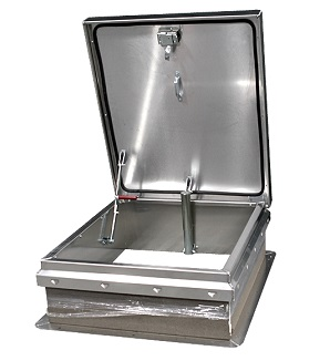 36 x 30 Roof Access Hatch,  Diamond Series, Aluminum, Mill Finish - Roof Access Hatch, Diamond Series, 36 x 30 inch Opening, Mill Finish 11 Gauge (0.091) aluminum. Self flashing base. Hinge is on 30 inch side. Price/Each.(shipping leadtime 2-3 weeks)