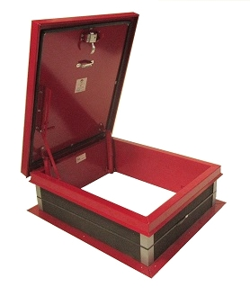 30 X 36 Roof Access Hatch, Red, Galv. Steel, Self Flashing - Roof Access Hatch, 30 wide x 36 inch opening, RED Finish over 14 Gauge Galvanized Steel, 1-inch Insulation (not shown), Self-Flashing Galvanized Steel Base. Hinge is on 30 inch side. Price/Each. (will soon be replaced by JL #RHDG-1RT)