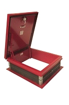 30 X 36 Roof Access Hatch, Red, Galv. Steel, Self Flashing