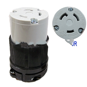 30 Amp 250V L6-30C Female Twist Type Locking Power Plug - L6-30C (L6-30R) FEMALE ELECTRICAL PLUG, UL/NEMA GRADE, 30 AMP 250V, 3-PRONG FEMALE TWIST TYPE LOCKING POWER CONNECTOR. PRICE/EACH.