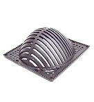 9 x 9 inch Square Domed Drain Grate, Reinforced Nylon Plastic