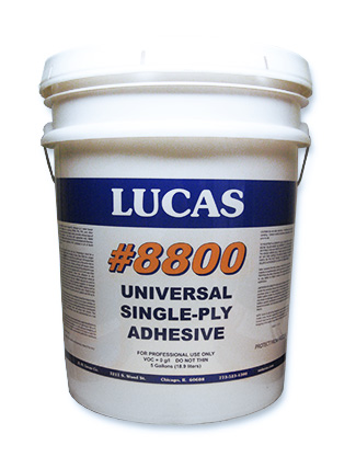 Lucas Universal Bonding Adhesive For EPDM/TPO/PVC (1G) - Universal Bonding Adhesive 8800 by Lucas. Low VOC Water based contact adhesive for securing EPDM, TPO, PVC and other single-ply membranes to wood, metal, concrete and most roofing substrates. 1-Gallon Pail. Price/Pail.
